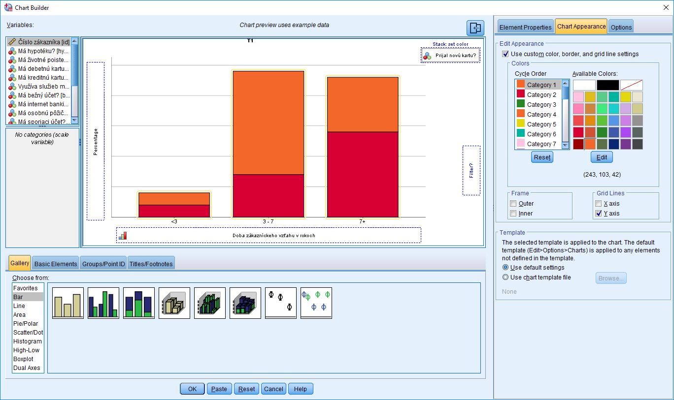 Obrázok 1: Rozhranie procedúry Chart Builder – záložka Chart Appearance