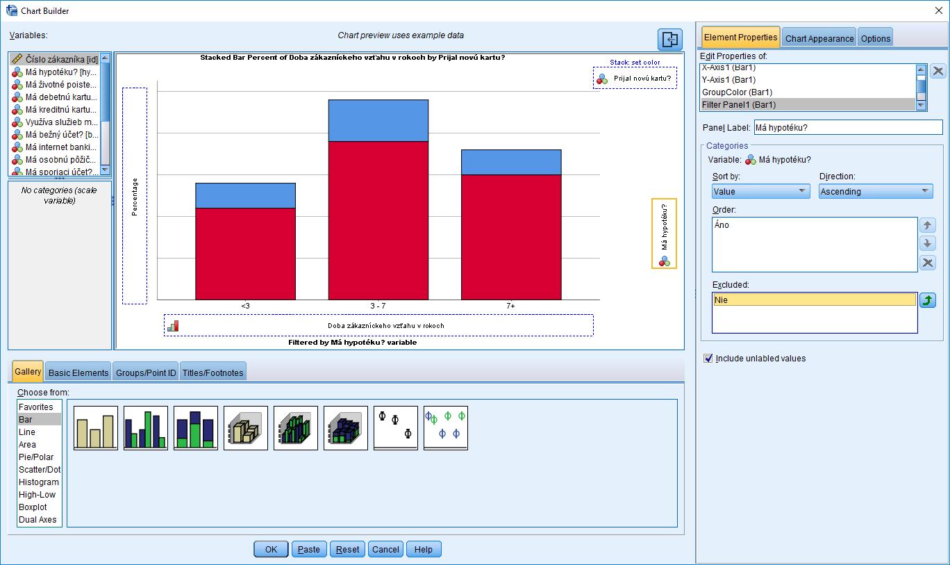 Obrázok 2: Rozhranie procedúry Chart Builder – záložka Element Properties, filtrovanie dát