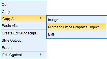 Obrázok 1: Kopírovanie grafov ako Microsoft Office grafický objekt